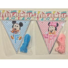 Banderín Feliz Cumple Mickey / Minnie Bebe X 5 Unidades.