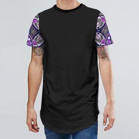 Camiseta Oversized Longline Swag Mangas Tropical 7 Mt