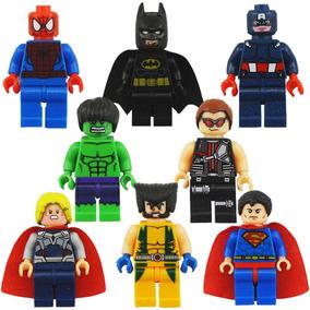 Super Heróis Marvel Vingadores Liga Dc 8 Bonecos Minifigures