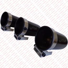 Kit 3 Copo 52mm Preto Manômetro Instrumento Painel Aluminio