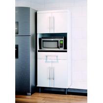 Armario Balcão Microondas P Cozinha Cristal Cor Branco_preto