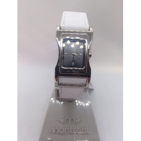 Reloj Dama Montreal Malla De Cuerina Blanca -mg