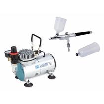 Kit Compressor Comp 1 + Aerógrafo 0,35 Dupla Ação Wimpel