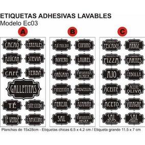 Vinilos Frascos Condimentos Especias Lavables Negro Y Color