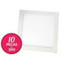 Kit 10 Painel Plafon Luminaria Led Quadrado Embutir Slim 18w