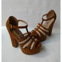 Zapato Calzado Tacon Para Dama Zapatilla Miel Envío Gratis