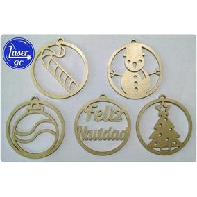 10 Esferas Navideñas Mdf Natural 10cm - Navidad Nombre Pino