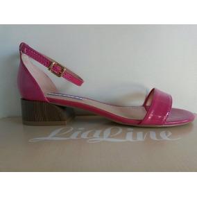 Sandália Feminina Lia Line Salto Baixo Verniz Rosa Pink