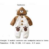 Macacão Fantasia Bebê Bichinho Urso Pronta Entrega!