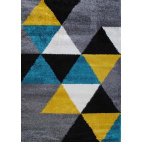 alfombra moderna gris amarillo aqua belgica 160x230 kreatex - Alfombra Moderna