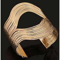 Bracelete Pulseira Dourado Aberto E Grande Linda N01