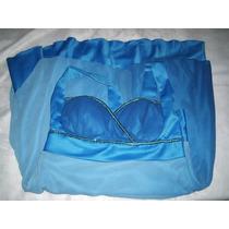 Vestido Festa Tons Azulados Crepe De Seda Tamanho Gg