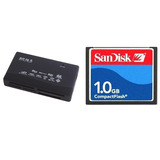Cartão Memória Cf Compact Flash 1gb Sandisk + Leitor Usb