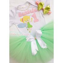 Fantasia Infantil Sininho Princesa Rosa Saia Tutu Body Bebê