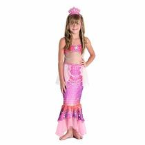 Fantasia Barbie Sereia Das Pérolas Luxo Tam G 10/12 Anos