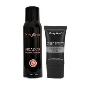 Fixador De Maquiagem Ruby Rose Hb312 + Primer Studio Perfect