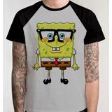 Camiseta Raglan Camisa Blusa Bob Esponja Patrik Desenho Tv