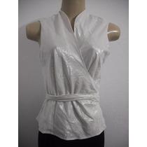 Blusa Feminina Branca Tam G Tecido Com Brilho Bom Estado