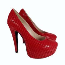 Hermosas Zapatillas Rivera En Color Rojo Tacón Y Plataforma
