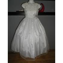 Dress Vestido Largo Blanco 6 8 Años Fiesta Pajecita Princesa