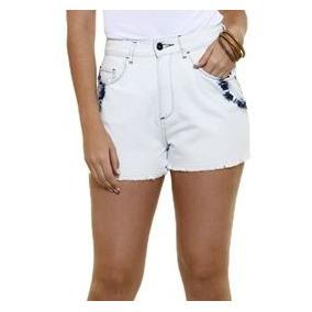 Short Feminino Em Jeans Delavê Com Tie Dye Tam 34! Novo