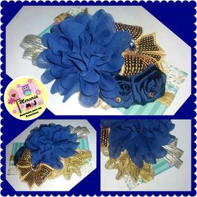Hermoso Lazo Azul Marino Con Dorado Niñas Cintillos