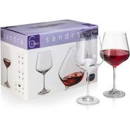 Copón Copa Vino Cristal Bohemia Sandra 570ml Set X 6