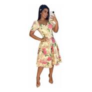 Vestido Midi Princesa Barras Rendadas Decote Assimétrico