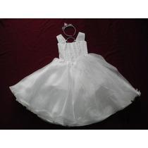 Nuevo Vestido Largo Blanco 4 - 5 Años Princesa Fiesta Angel