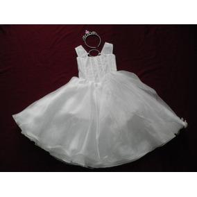 Nuevo Vestido Largo Blanco Niña Princesa Fiesta Presentacion