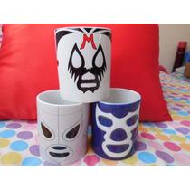 Tazas Mascaras Lucha Libre En Taza Blanca Muchos Luchadores