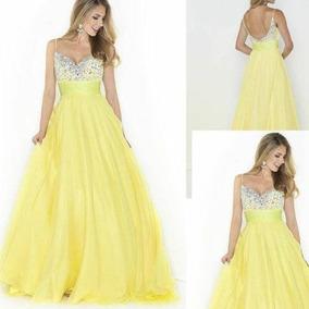 Vestido De Fiesta Importado Amarillo Largo !!!