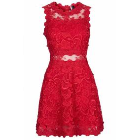 Vestido Rojo Encaje Con Transparencias D Fiesta Casual Japon