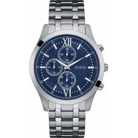 Reloj Guess W0875g1 Hudson Plateado/azl Cronografo Caballero