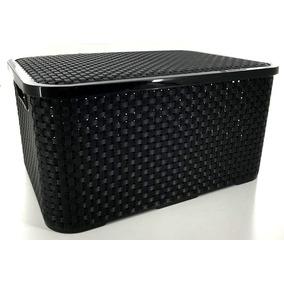 Caja Organizadora Plástica Simil Ratan Canasto 15 Lts Tapa