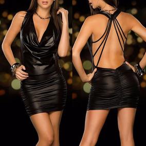 Mini Vestido Negro Imitación Piel Sexy Edecan Pole Dance Fie
