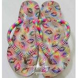 Sandálias Chinelos Havaianas Slim Boca Beijo Colorido Strass