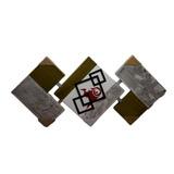 Quadro Triplo Quadrados Colados Pintados E Recortados