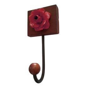 Cabide Decorativo Madeira Bolsa Roupa Quarto Vermelho Mini