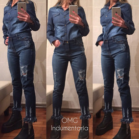 Camisas Jeans Mujer Nevada, Azul, Elastizada, Talles