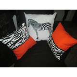 Cojines Animal Print Cebra Combinados Con Naranja