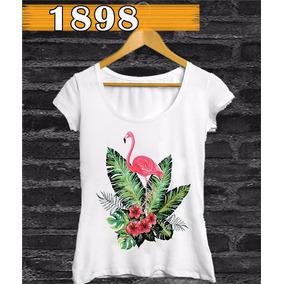 Camiseta Feminina Flamingo Tecido Flamê Trend Frete Grátis