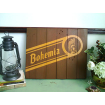 Cuadro Anuncio Letrero Bohemia Cerveza Bar Cantina Madera