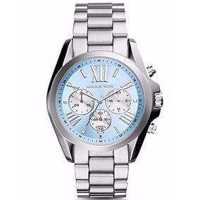 Relógio Michael Kors Luxo Mk6099 Prata Azul Ms411