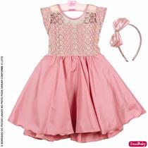 Vestido Infantil Daminha Rose Realeza Primeira Comunhao