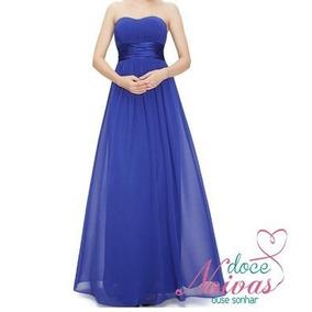 Vestido Longo Madrinha Formatura Azul Royal