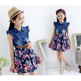 Vestido Jeans Floral Princesa Menina Infantil