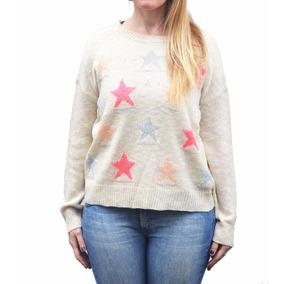 Sweater De Hilo Con Lurex Estrellas Poncho De Mujer Pullover