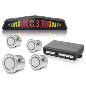 Sensor De Ré 4 Sensores Prata Estacionamento Display Led Kit