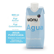 Wonu Water, Agua Natural, Eco-empaque, 500ml (12 Piezas)